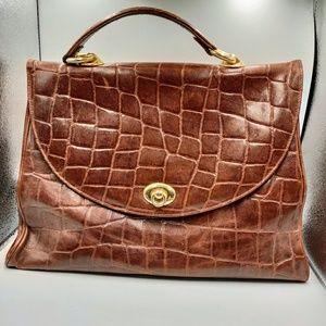 VTG Croc Embossed Leather Briefcase Handbag Kelly